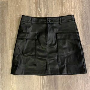 leather black mini skirt